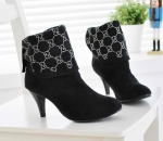 PRE-ORDER:   Rhinestone Embellished Button Boots Black